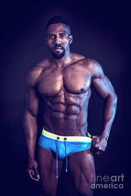 Vintage Chevrolet - African American bodybuilder man, naked muscular torso by Stefano Cavoretto