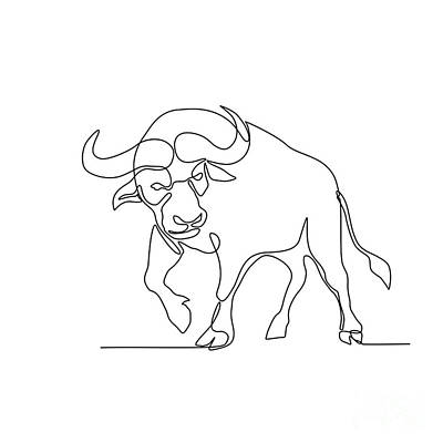 Basketball Patents - African Buffalo Continuous Line by Aloysius Patrimonio