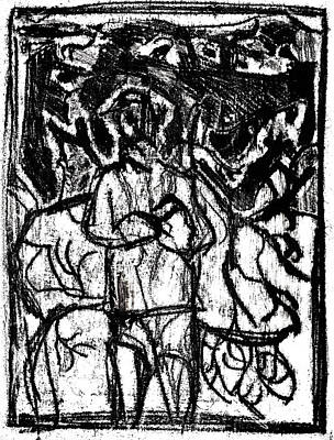 Drawing - After Billy Childish Black Oil Drawing B2-10 by Artist Dot