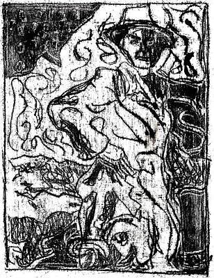 Drawing - After Billy Childish Black Oil Drawing B2-13 by Artist Dot
