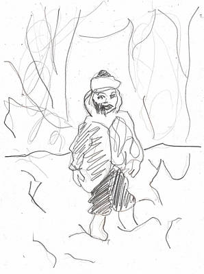 Drawing - After Billy Childish Girl Pencil Drawing B2-16 by Artist Dot