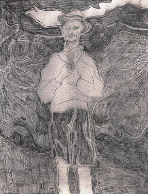 Drawing - After Billy Childish Pencil Drawing 16 by Artist Dot