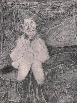 Drawing - After Billy Childish Pencil Drawing 17 by Artist Dot