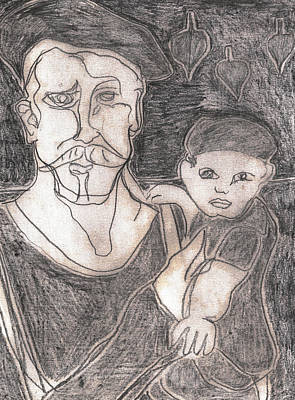 Drawing - After Billy Childish Pencil Drawing 19 by Artist Dot
