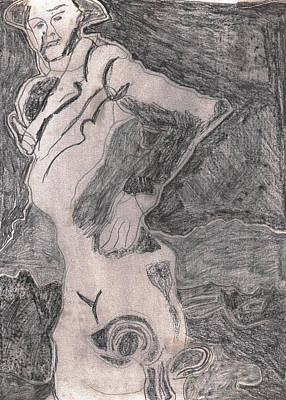 Drawing - After Billy Childish Pencil Drawing 20 by Artist Dot