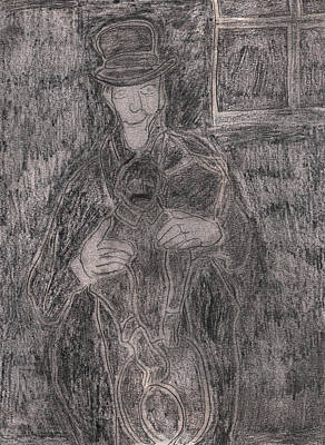 Drawing - After Billy Childish Pencil Drawing 23 by Artist Dot