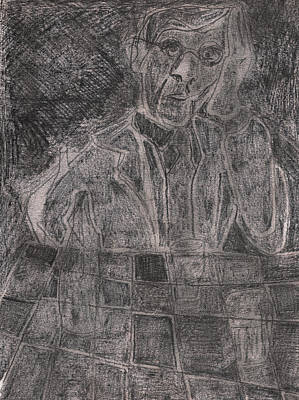 Drawing - After Billy Childish Pencil Drawing 25 by Artist Dot