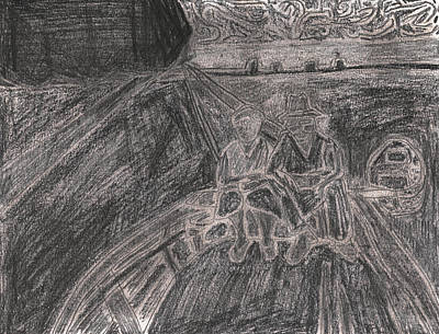 Drawing - After Billy Childish Pencil Drawing 28 by Artist Dot