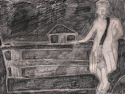 Drawing - After Billy Childish Pencil Drawing 31 by Artist Dot