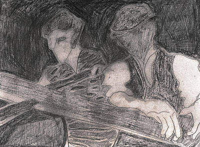 Drawing - After Billy Childish Pencil Drawing 33 by Artist Dot