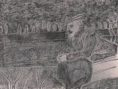 Drawing - After Billy Childish Pencil Drawing 34 by Artist Dot