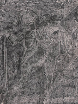Drawing - After Billy Childish Pencil Drawing 38 by Artist Dot