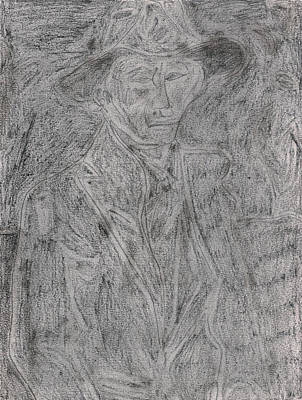 Drawing - After Billy Childish Pencil Drawing 4 by Artist Dot