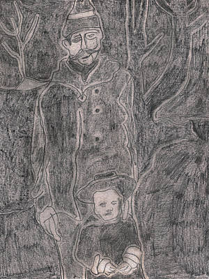 Drawing - After Billy Childish Pencil Drawing 44 by Artist Dot