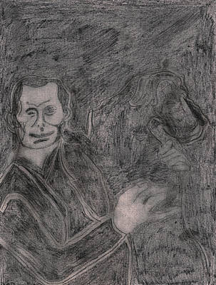 Drawing - After Billy Childish Pencil Drawing 6 by Artist Dot