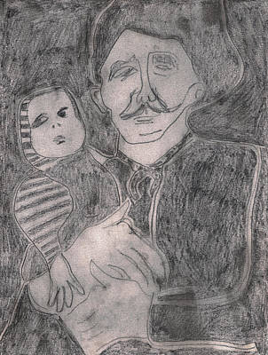 Drawing - After Billy Childish Pencil Drawing 8 by Artist Dot