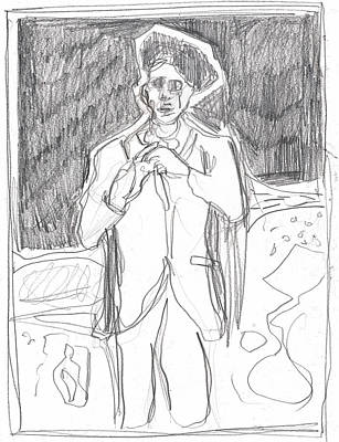 Drawing - After Billy Childish Pencil Drawing B2-1 by Artist Dot