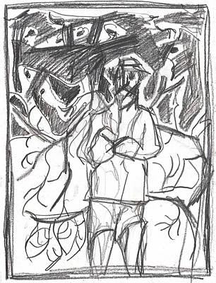 Drawing - After Billy Childish Pencil Drawing B2-10 by Artist Dot