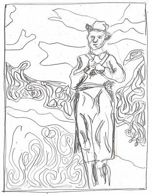 Drawing - After Billy Childish Pencil Drawing B2-12 by Artist Dot