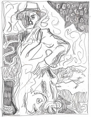 Drawing - After Billy Childish Pencil Drawing B2-13 by Artist Dot