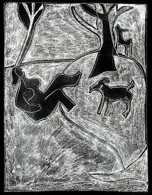 Digital Art - After Childish Edgeworth White On Black 13 by Artist Dot