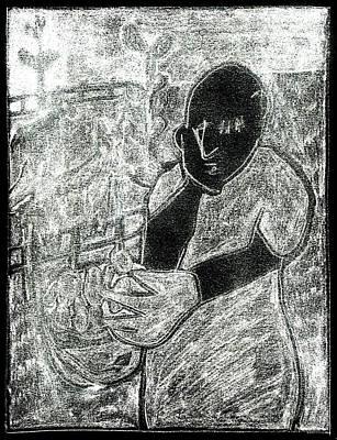 Digital Art - After Childish Edgeworth White On Black 7 by Artist Dot
