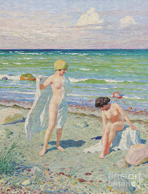 Painting - After The Swim  Oil On Canvas by Paul Fischer