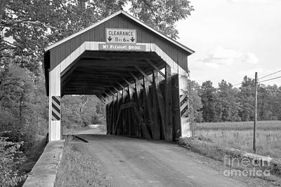 Photograph - Afternoon At The Mt. Pleasant Covered Bridge Black And White by Adam Jewell
