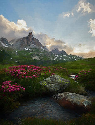 Digital Art - Afternoon Light In The Alps IIi by Jon Glaser