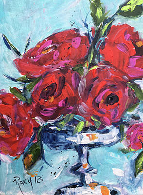 Red Painting - Afternoon Roses by Roxy Rich