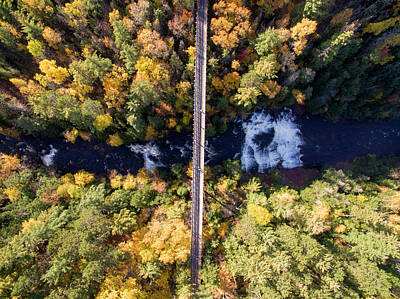 Photograph - Agate Falls Autumn Aerial 10171704 by Rick Veldman