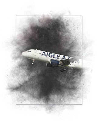 Mixed Media - Aigle Azur Airbus A320-200 Painting by Smart Aviation