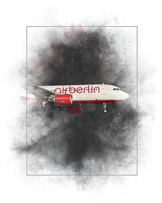 Mixed Media - Air Berlin Airbus A320-214 Painting by Smart Aviation