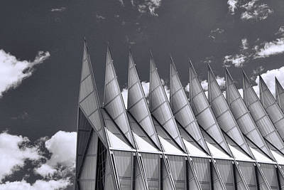 Photograph - Air Force Academy - B And W by Allen Beatty