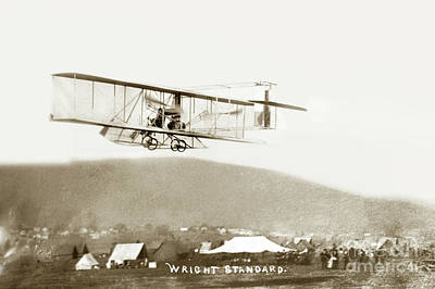 Photograph - Air Plane Wright Standard In Flight Circa 1910 by California Views Archives Mr Pat Hathaway Archives