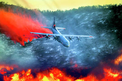 C-130 Wall Art - Digital Art - Airborne Fire Fighting by Peter Chilelli