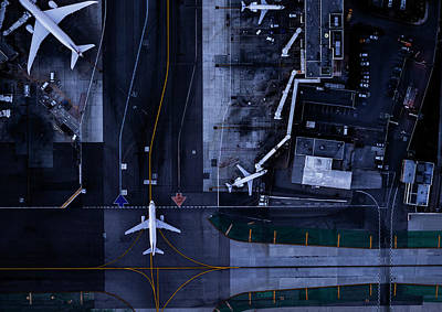 Photograph - Airliners At Gates And Control Tower At by Michael H
