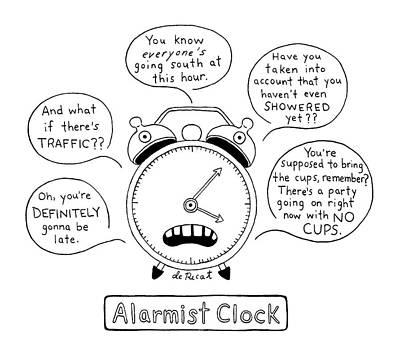 Drawing - Alarmist Clock by Olivia de Recat