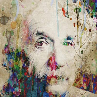 Painting - Albert Einstein Creative Genius Colorful Sepia by Robert R Splashy Art Abstract Paintings