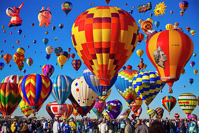Flying Photograph - Albuquerque Balloon Fiesta by Bill Heinsohn