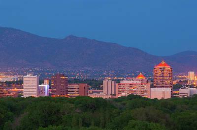 Exterior Photograph - Albuquerque Skyline At Dusk by Davel5957