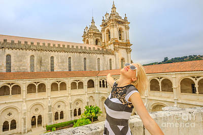 Photograph - Alcobaca Monastery Woman Tourist by Benny Marty