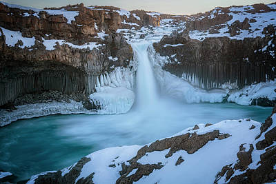 Clouds Rights Managed Images - Aldeyjarfoss Waterfall Iceland III Royalty-Free Image by Joan Carroll