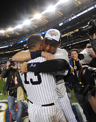 Photograph - Alex Rodriguez And Yankee Captain Derek by New York Daily News Archive