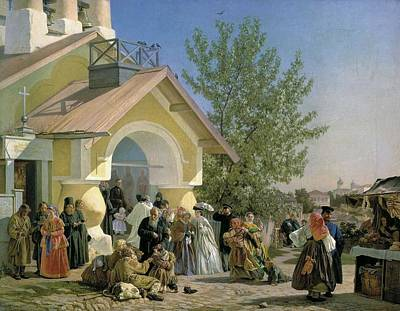 Landmarks Painting Royalty Free Images - Alexander Ivanovich Morozov - Leaving Church in Pskov Royalty-Free Image by Celestial Images