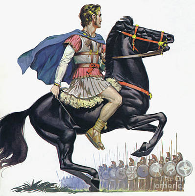 Painting - Alexander The Great On His Horse Bucephalus  by Angus McBride