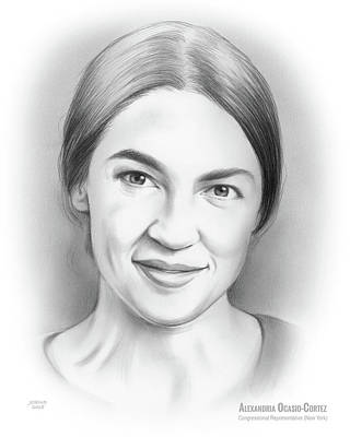 Drawings Royalty Free Images - Alexandria Ocasio-Cortez Royalty-Free Image by Greg Joens