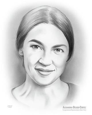 Politicians Drawings - Alexandria Ocasio-Cortez by Greg Joens