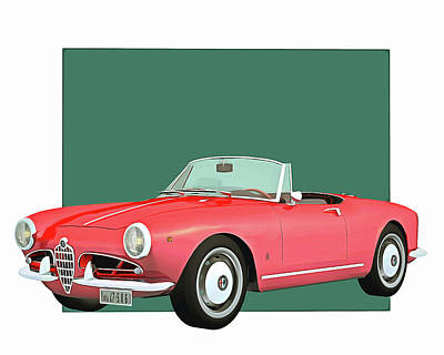 Digital Art - Alfa Romeo Giulietta 1300 Spyder 1955 by Jan Keteleer