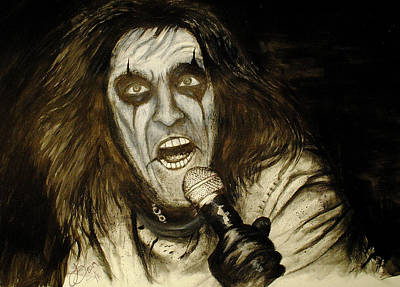 Musicians Drawings Rights Managed Images - Alice Cooper Live Royalty-Free Image by Tim Brandt
